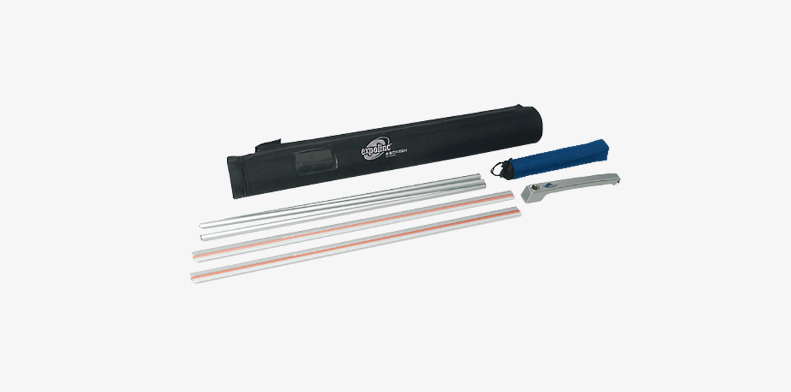 4 Screen package incl foot, rod, profiles, cardboard tube and bag.