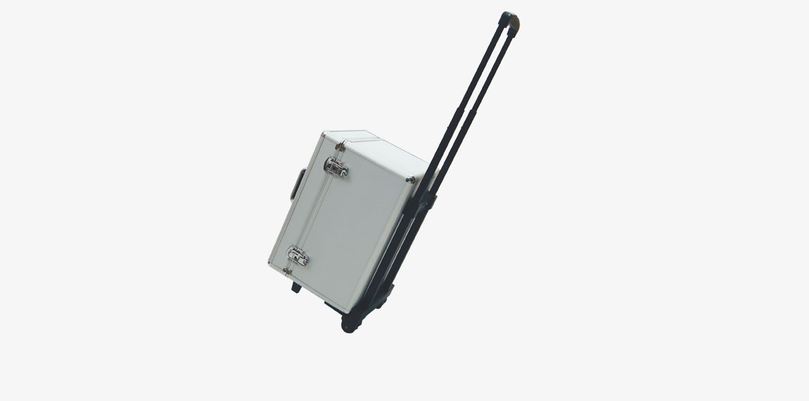 Hard case for Brochure Stand Double with wheels and extendable handle.