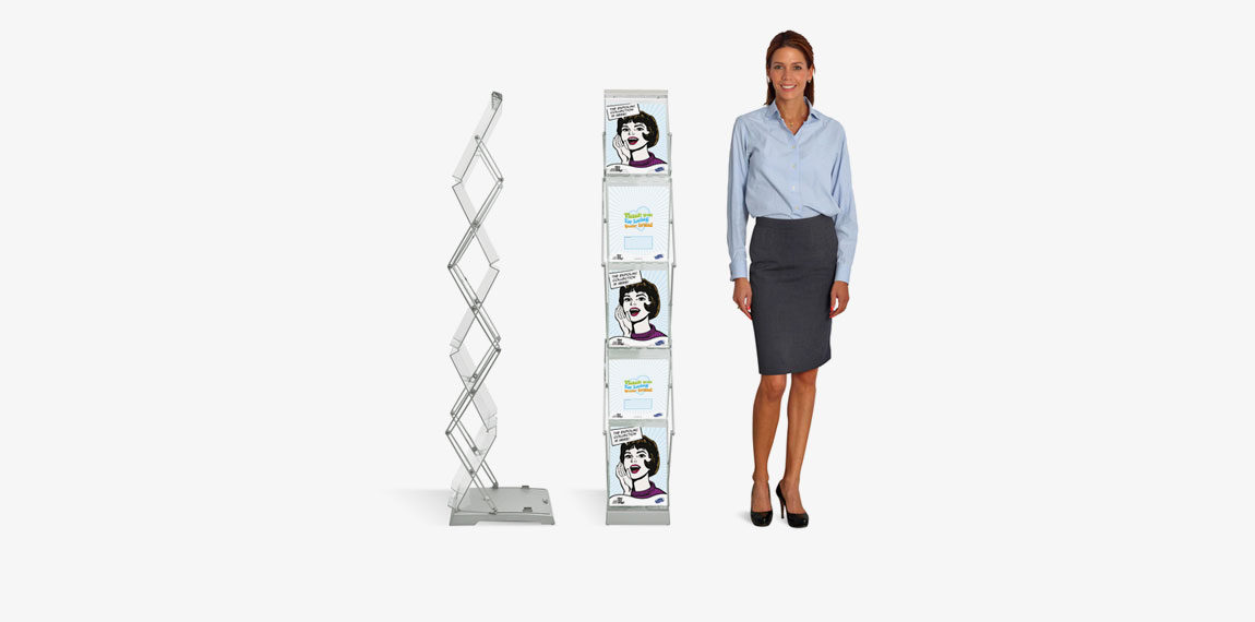 Brochure Stand Double is a foldable brochure stand that takes minimum of space when folded.
