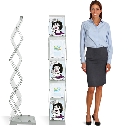 Expolinc Brochure Stand Double is a foldable, double-sided brochure stand that takes minimum of space when folded.