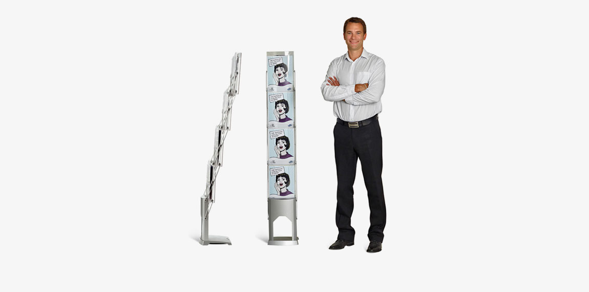 Brochure Stand compared to human size