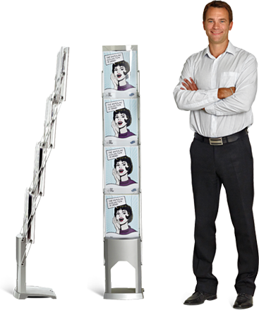Brochure Stand is a foldable brochure stand, ready to use instantly.