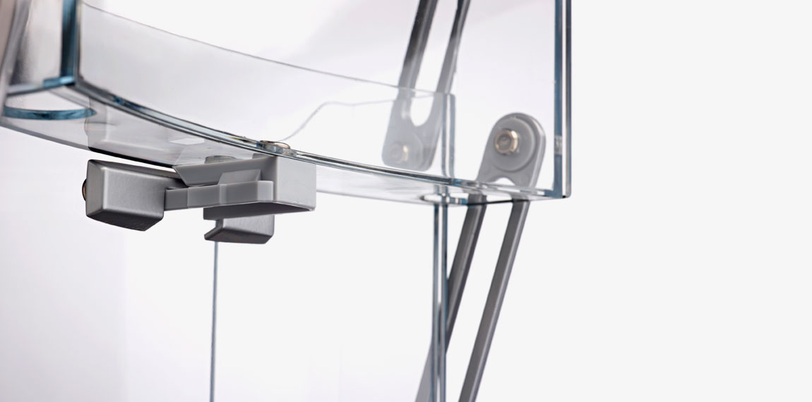 Self-locking mechanism on Brochure Stand.