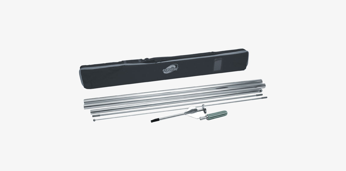 The package for Flag System ground stake contains transport bag with handle, ground stake and flag pole parts.