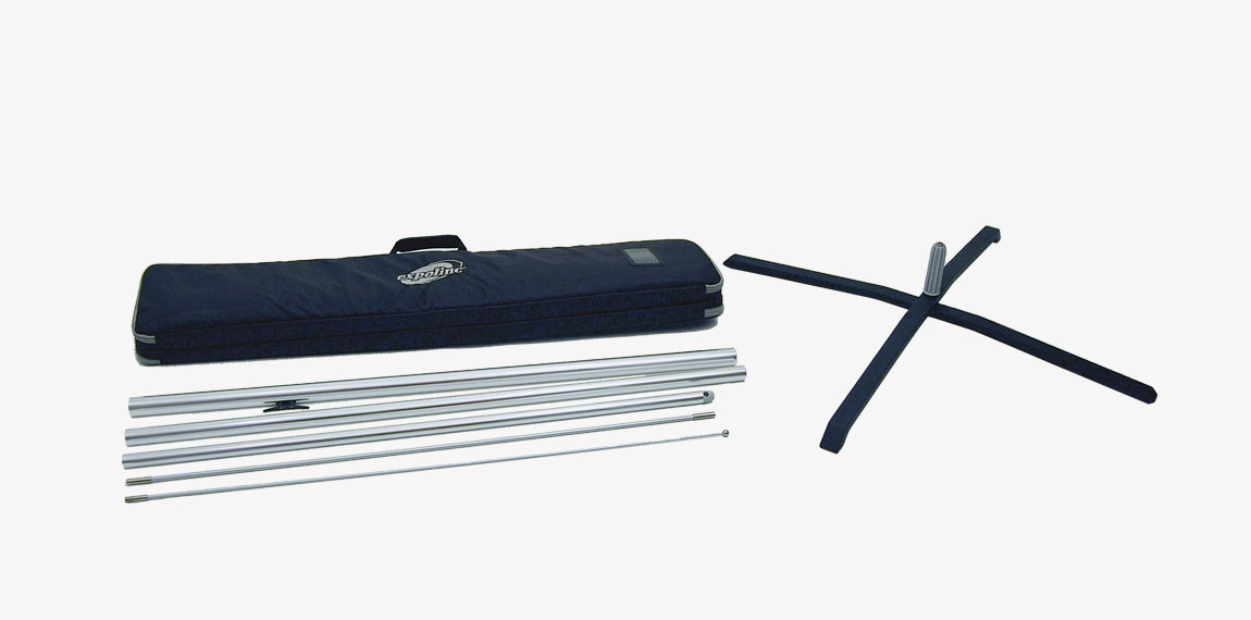 The package for Flag System x-foot contains transport bag with handle, foldable x-foot and flag pole parts.