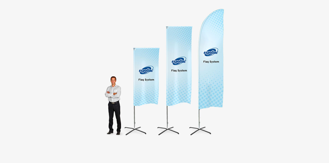 Expolinc Flag System gives you three combinations of beach flags in one system.