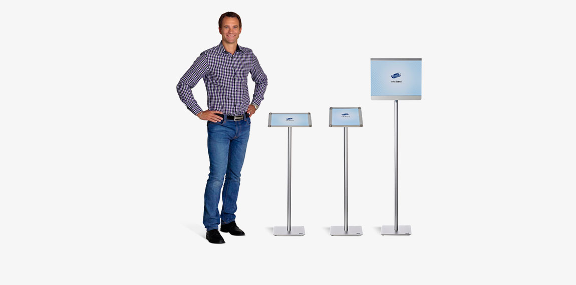 Info Stand angled in portrait and landscape position. Info Stand straight is double sided.