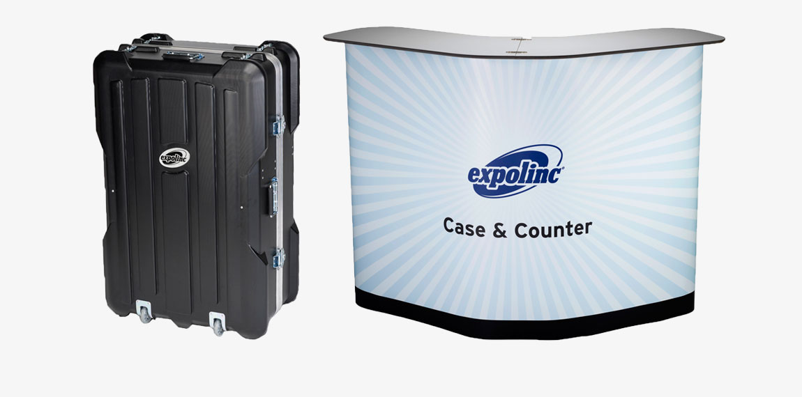 Case & Counter is a spacious transport case suitable for Pop Up. In a minute it converts into a stable counter with internal shelves.