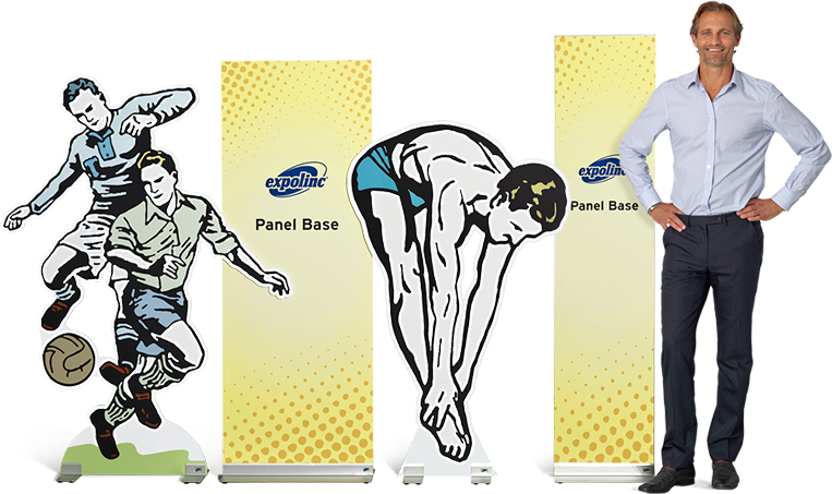 Panel Base is a banner stand that allows you to create any shape in rigid board materials up to 19 mm.