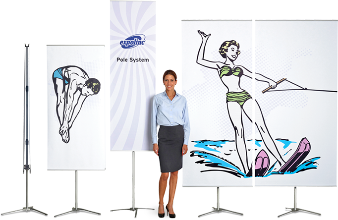 Pole System is a double sided bannerstand with flexible heights and available in several widths.