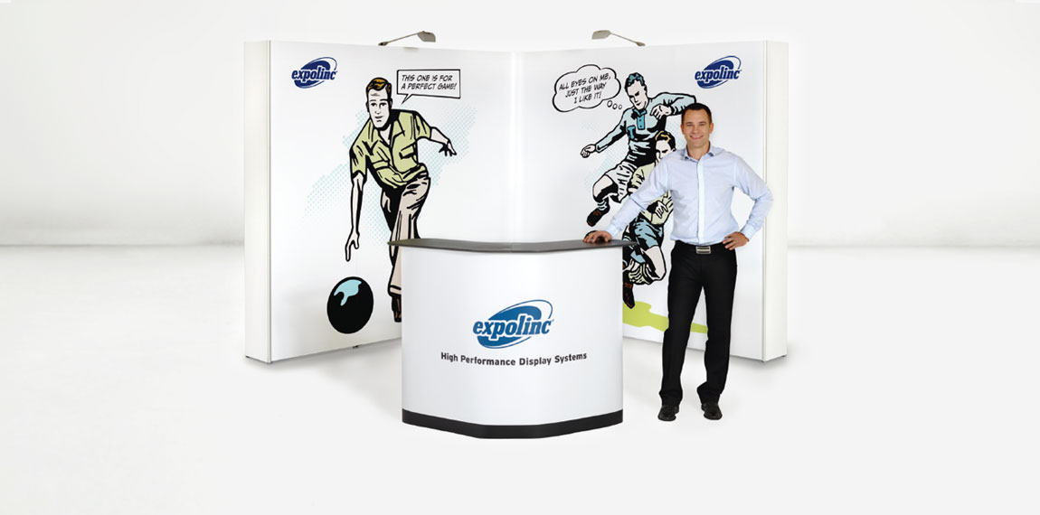 Pop Up Magnetic is an easy to mount exhibition stand. Here with flat sides.