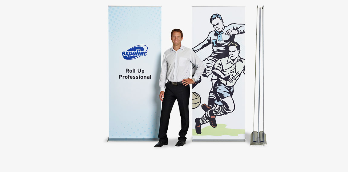 Expolinc Roll Up Professional is a retractable bannerstand available in 850 mm width. A double sided version is also available.