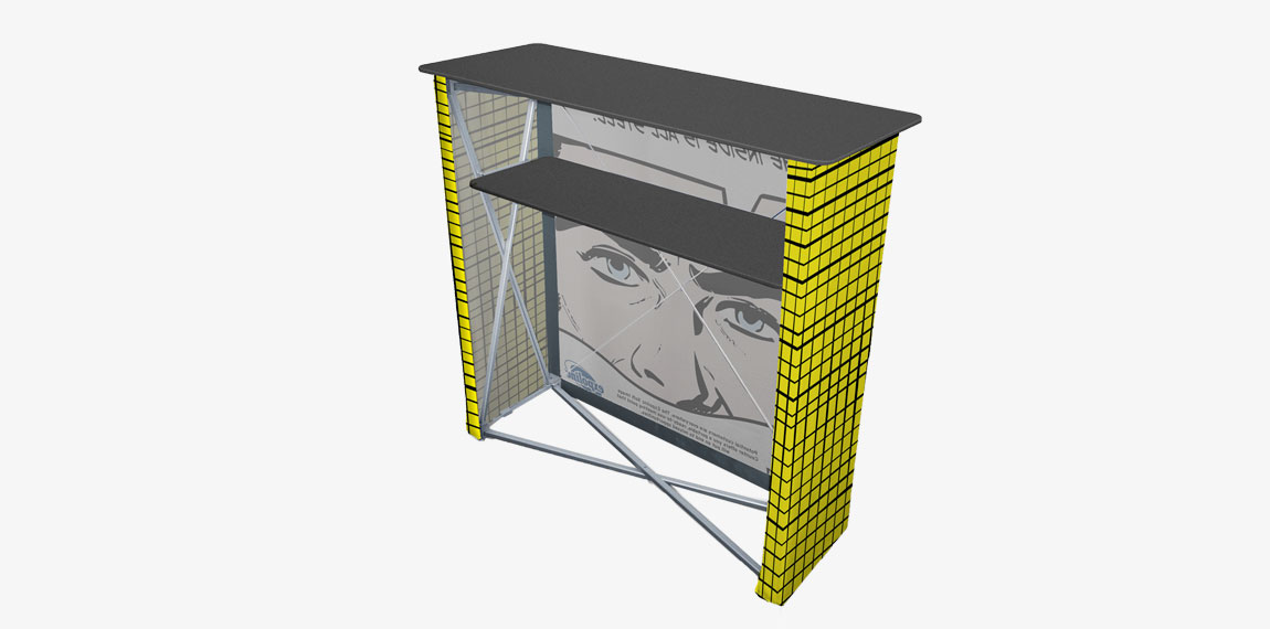 Soft Image Counter has an internal shelf for storing your information material.