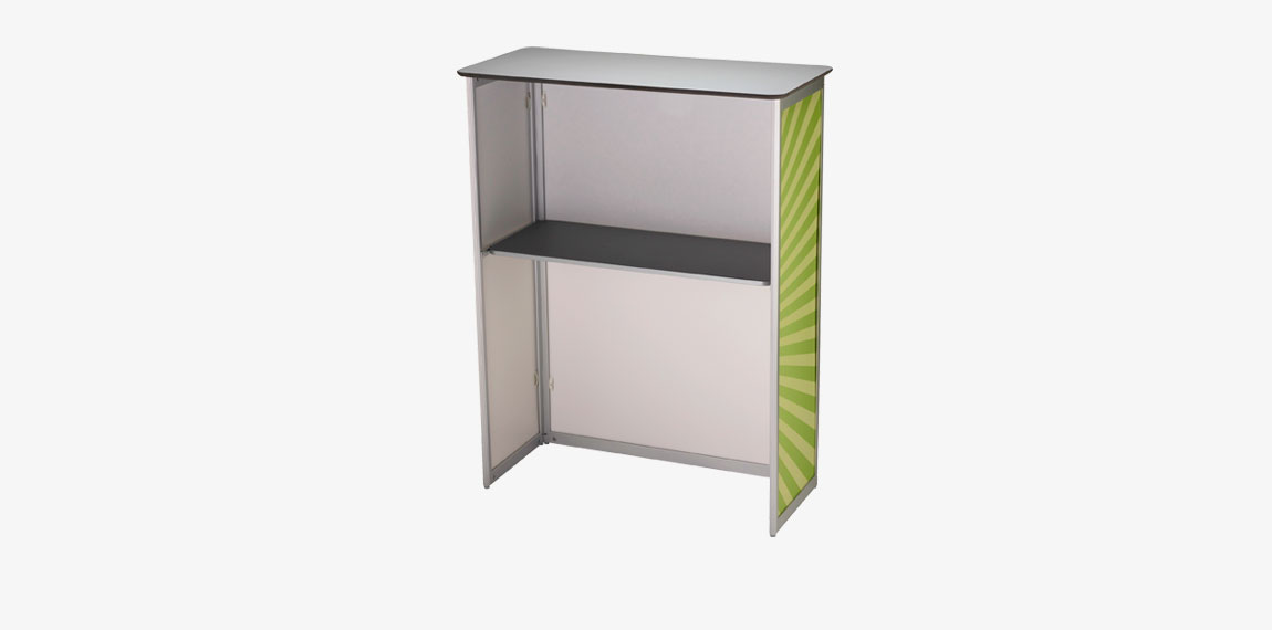 Stand Up counter offers plenty of space for storing your information material.