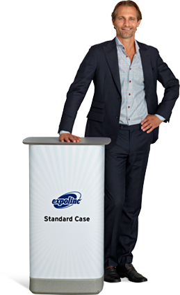 Expolinc Standard Case is a transport case that converts into a counter in just a few seconds.