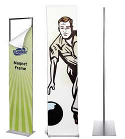 A bannerstand on which the graphic panel is attached in seconds through magnetic force.