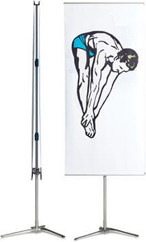 A double-sided bannerstand with flexible heights and widths.