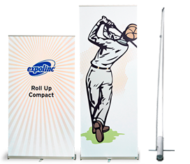 A compact rollup with flexible height and easy set up.