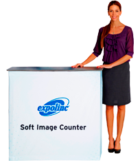 A counter with textile graphic attached with velcro. Low weight and easy set up.