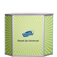 An exhibition counter with ultra-stable design for product exposures and demonstrations. Quick and easy set up with panels already mounted.
