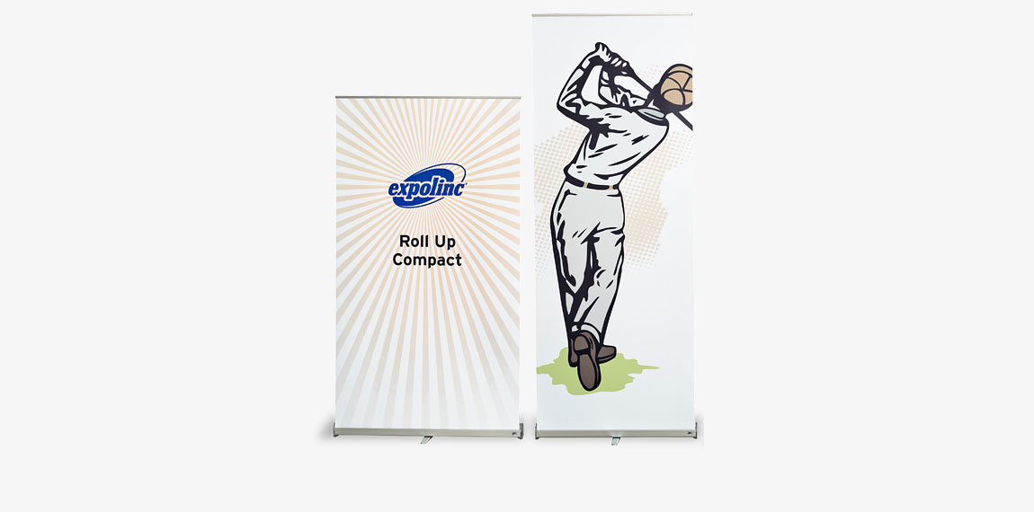 Roll Up Compact is available in 850 and 1000 mm width. Telescopic height.
